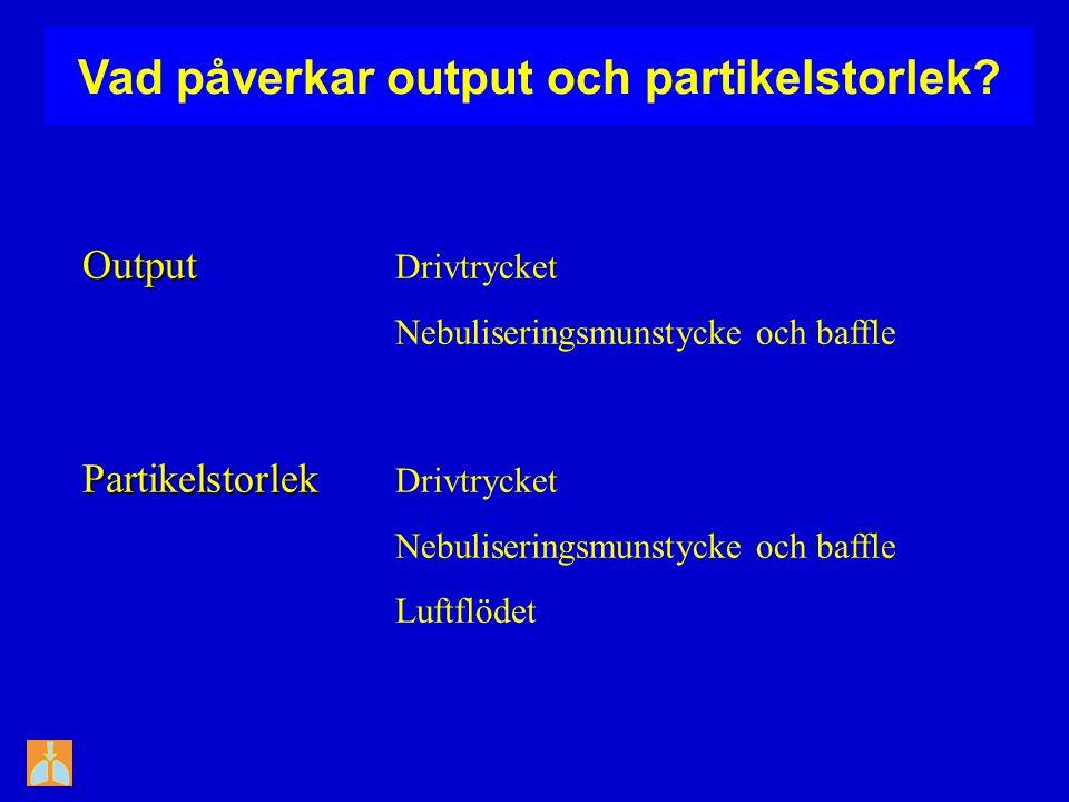 Vad påverkar output och partikelstorlek? Output Output Drivtrycket Nebuliseringsmunstycke och baffle Partikelstorlek Partikelstorlek Drivtrycket Nebul