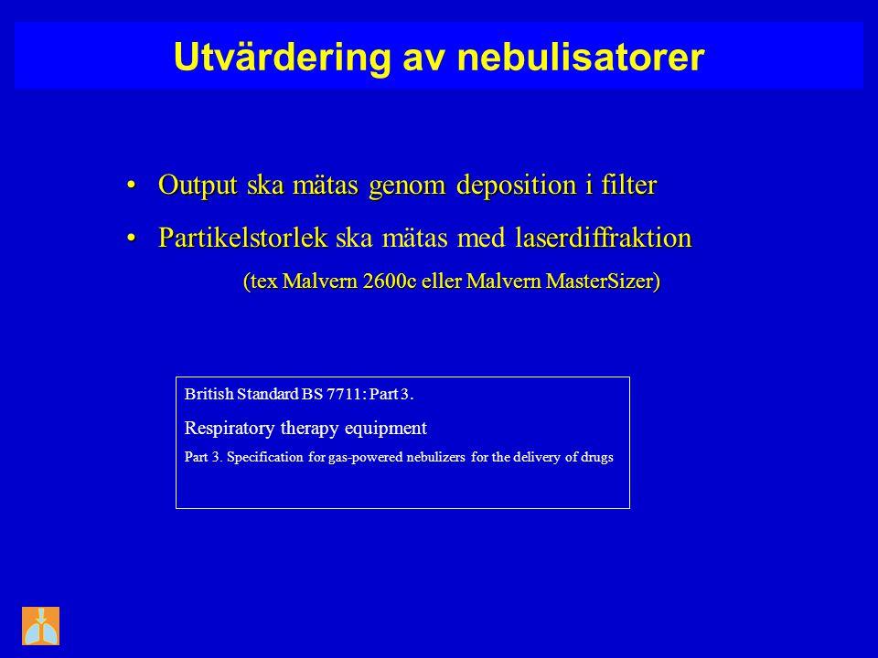 Utvärdering av nebulisatorer Output ska mätas genomdeposition i filter Output ska mätas genomdeposition i filter Partikelstorlekaserdiffraktion Partikelstorlek ska mätas med laserdiffraktion (tex Malvern 2600c eller Malvern MasterSizer) (tex Malvern 2600c eller Malvern MasterSizer) British Standard BS 7711: Part 3.