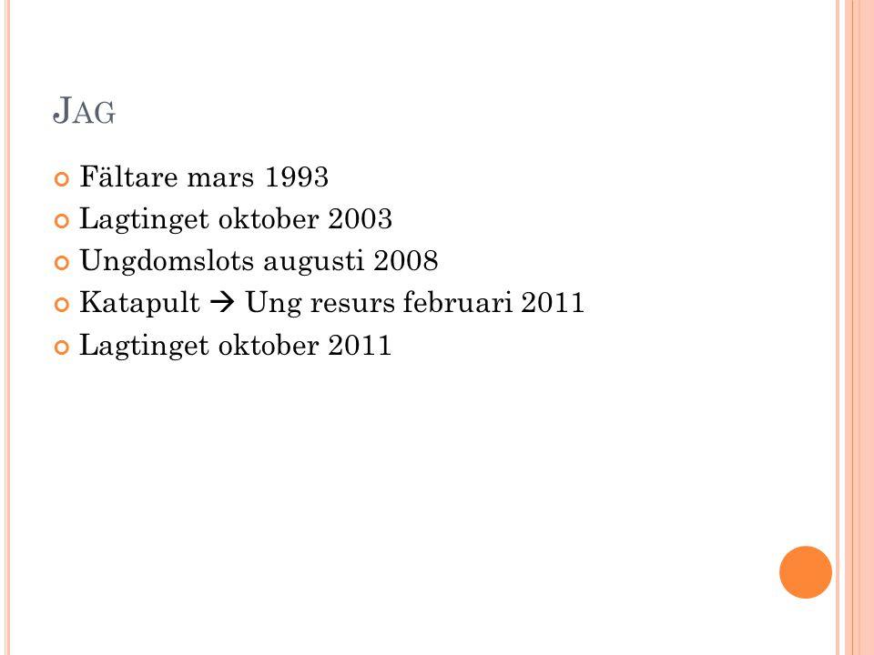 J AG Fältare mars 1993 Lagtinget oktober 2003 Ungdomslots augusti 2008 Katapult  Ung resurs februari 2011 Lagtinget oktober 2011