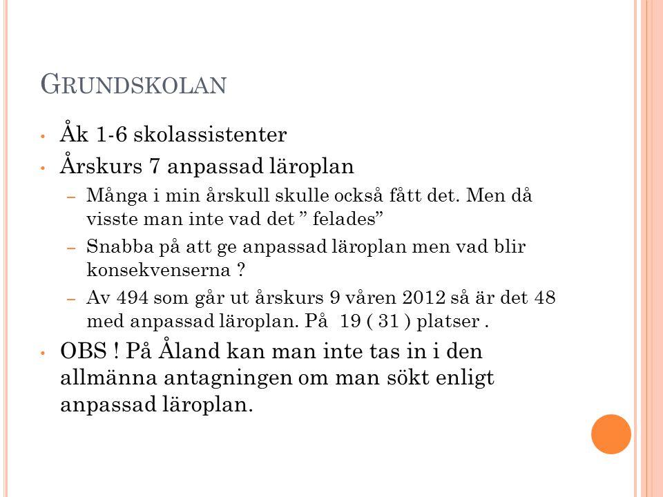 G RUNDSKOLAN Åk 1-6 skolassistenter Årskurs 7 anpassad läroplan – Många i min årskull skulle också fått det.