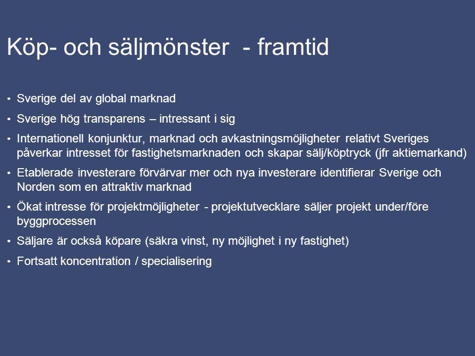 Köp- och säljmönster - framtid Sverige del av global marknad Sverige hög transparens – intressant i sig Internationell konjunktur, marknad och avkastn