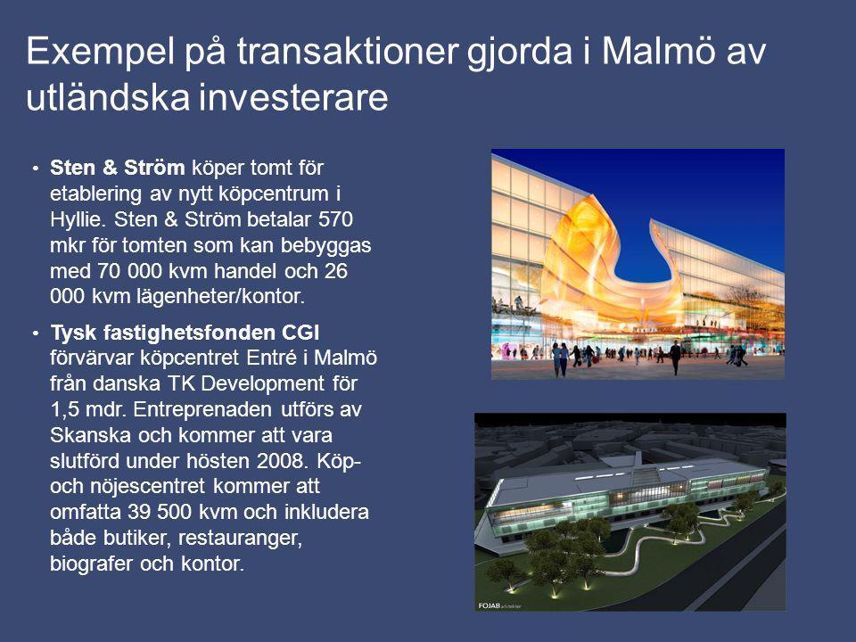 Exempel på transaktioner gjorda i Malmö av utländska investerare Sten & Ström köper tomt för etablering av nytt köpcentrum i Hyllie. Sten & Ström beta