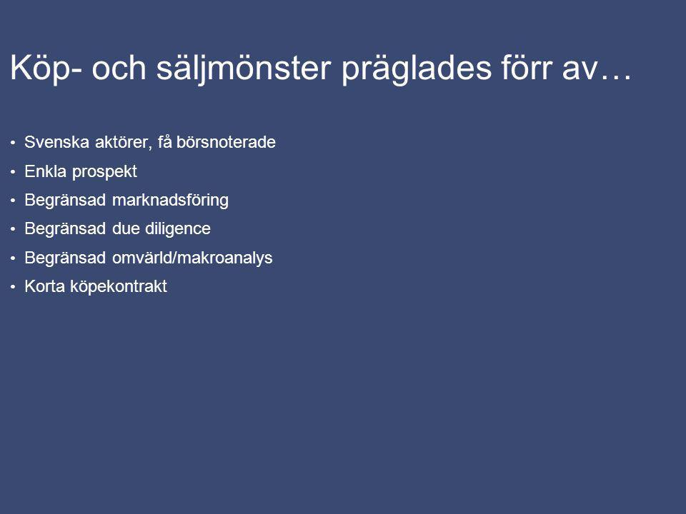 Köp- och säljmönster präglades förr av… Svenska aktörer, få börsnoterade Enkla prospekt Begränsad marknadsföring Begränsad due diligence Begränsad omvärld/makroanalys Korta köpekontrakt
