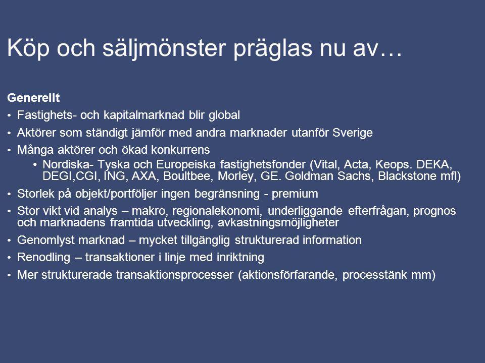 Köp och säljmönster präglas nu av… Generellt Fastighets- och kapitalmarknad blir global Aktörer som ständigt jämför med andra marknader utanför Sverige Många aktörer och ökad konkurrens Nordiska- Tyska och Europeiska fastighetsfonder (Vital, Acta, Keops.