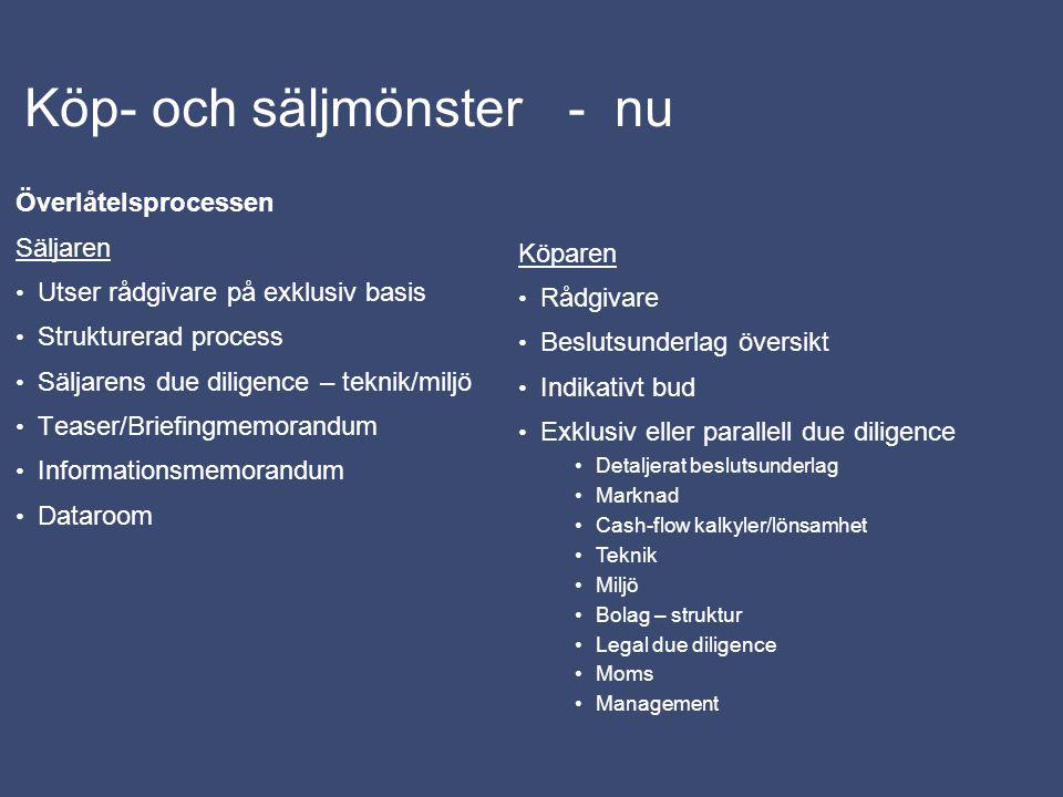 Köp- och säljmönster - framtid Sverige del av global marknad Sverige hög transparens – intressant i sig Internationell konjunktur, marknad och avkastningsmöjligheter relativt Sveriges påverkar intresset för fastighetsmarknaden och skapar sälj/köptryck (jfr aktiemarkand) Etablerade investerare förvärvar mer och nya investerare identifierar Sverige och Norden som en attraktiv marknad Ökat intresse för projektmöjligheter - projektutvecklare säljer projekt under/före byggprocessen Säljare är också köpare (säkra vinst, ny möjlighet i ny fastighet) Fortsatt koncentration / specialisering