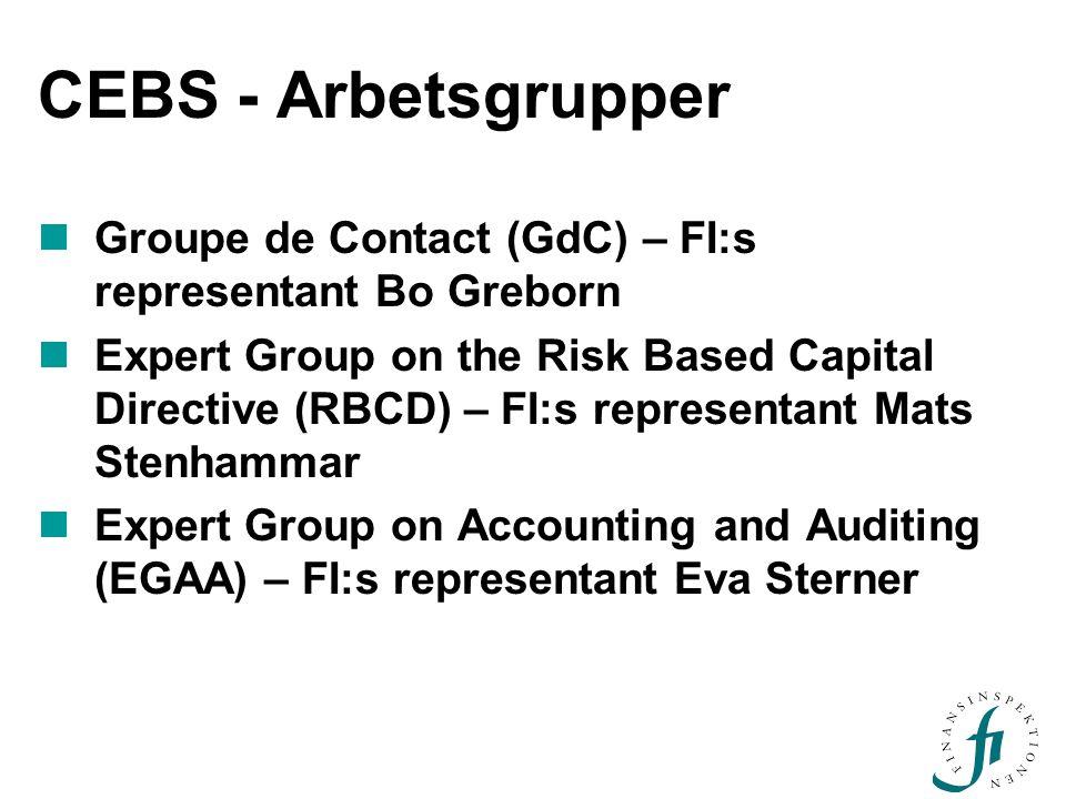 CEBS - Arbetsgrupper Groupe de Contact (GdC) – FI:s representant Bo Greborn Expert Group on the Risk Based Capital Directive (RBCD) – FI:s representan