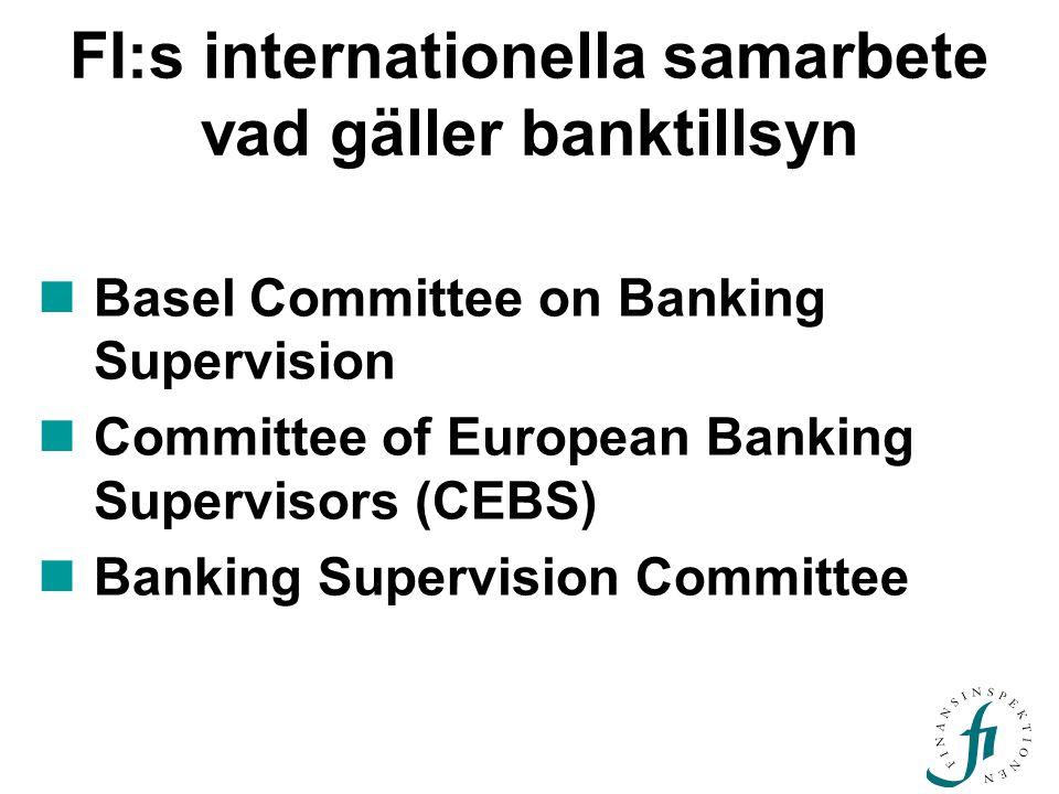 FI:s internationella samarbete vad gäller banktillsyn Basel Committee on Banking Supervision Committee of European Banking Supervisors (CEBS) Banking Supervision Committee
