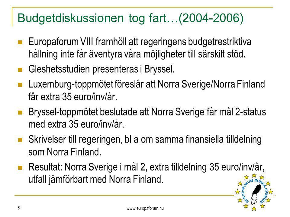 www.europaforum.nu 5 Budgetdiskussionen tog fart…(2004-2006) Europaforum VIII framhöll att regeringens budgetrestriktiva hållning inte får äventyra våra möjligheter till särskilt stöd.