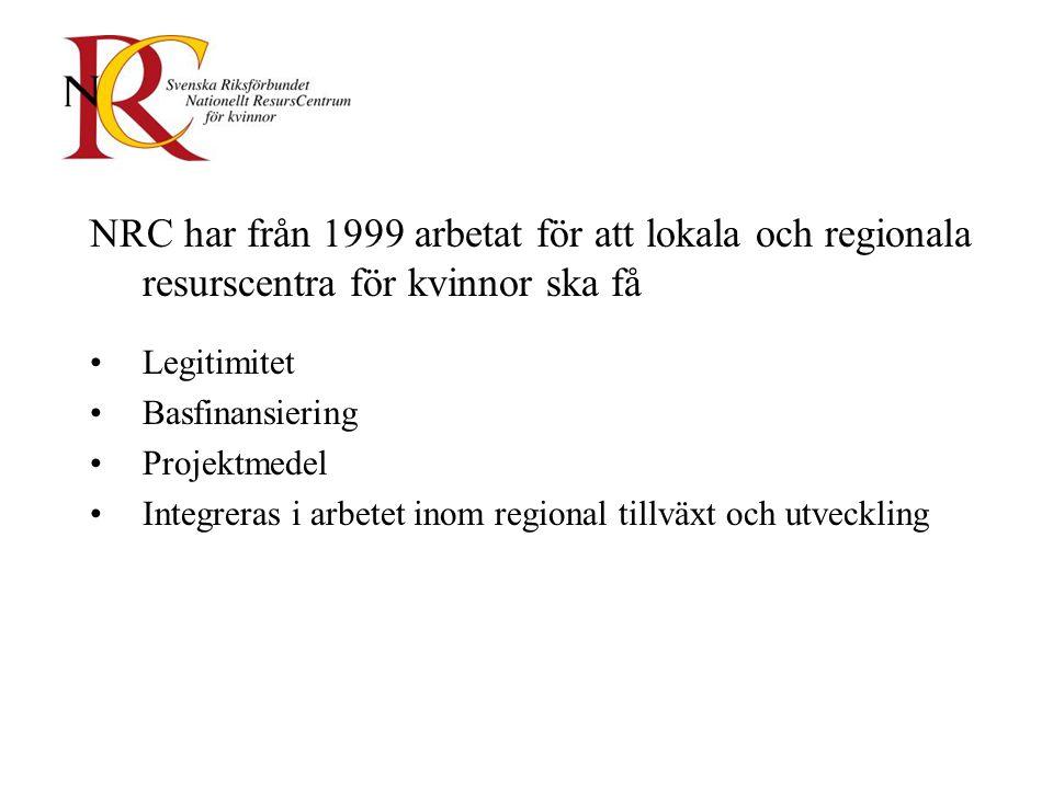 NRC har från 1999 arbetat för att lokala och regionala resurscentra för kvinnor ska få Legitimitet Basfinansiering Projektmedel Integreras i arbetet inom regional tillväxt och utveckling