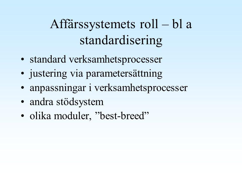 Affärssystemets roll – bl a standardisering standard verksamhetsprocesser justering via parametersättning anpassningar i verksamhetsprocesser andra st