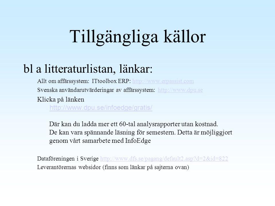Tillgängliga källor bl a litteraturlistan, länkar: Allt om affärssystem: ITtoolbox ERP: http://www.erpassist.comhttp://www.erpassist.com Svenska använ