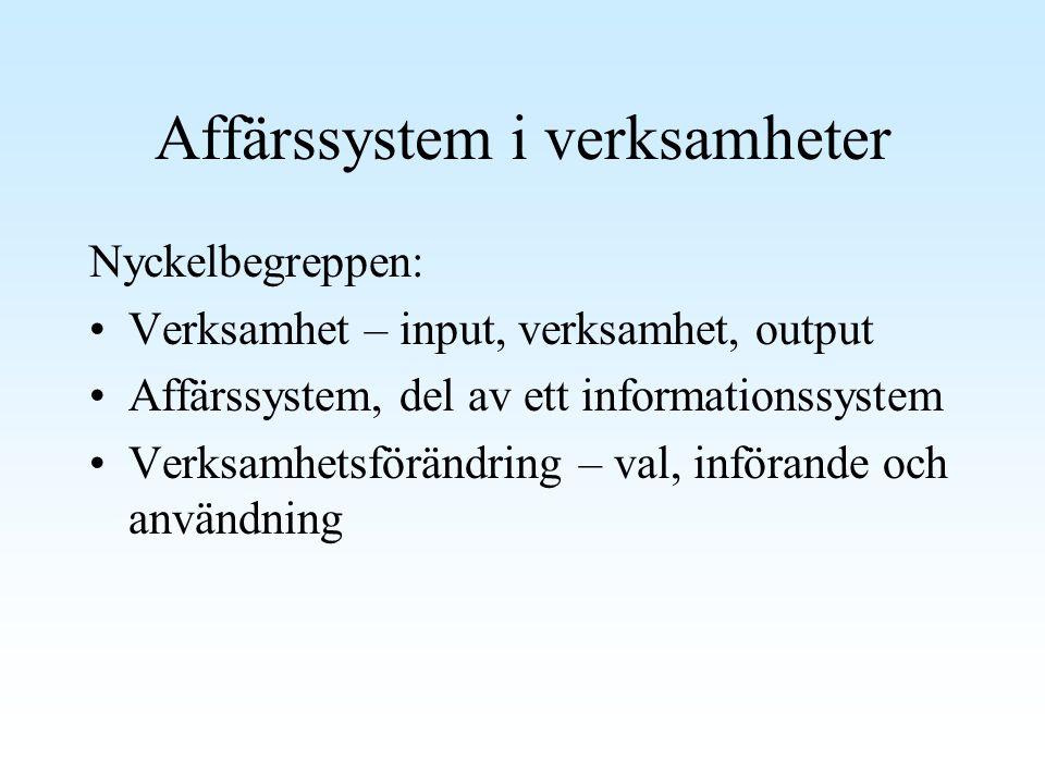 Affärssystem i verksamheter Nyckelbegreppen: Verksamhet – input, verksamhet, output Affärssystem, del av ett informationssystem Verksamhetsförändring