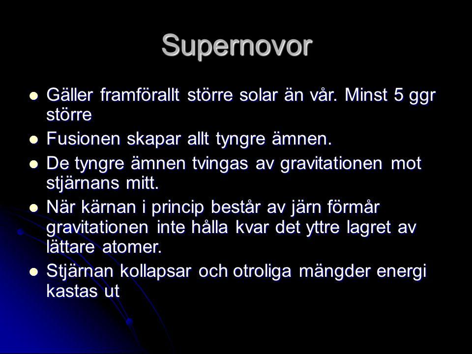 Supernovor Gäller framförallt större solar än vår.