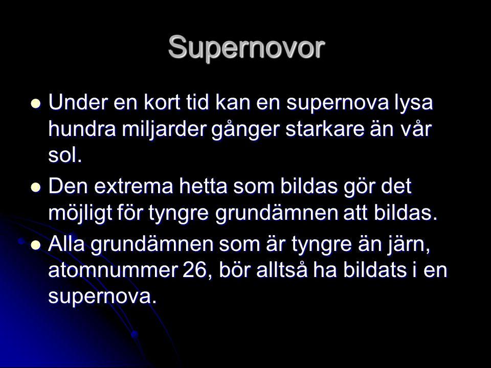 Supernovor Under en kort tid kan en supernova lysa hundra miljarder gånger starkare än vår sol.
