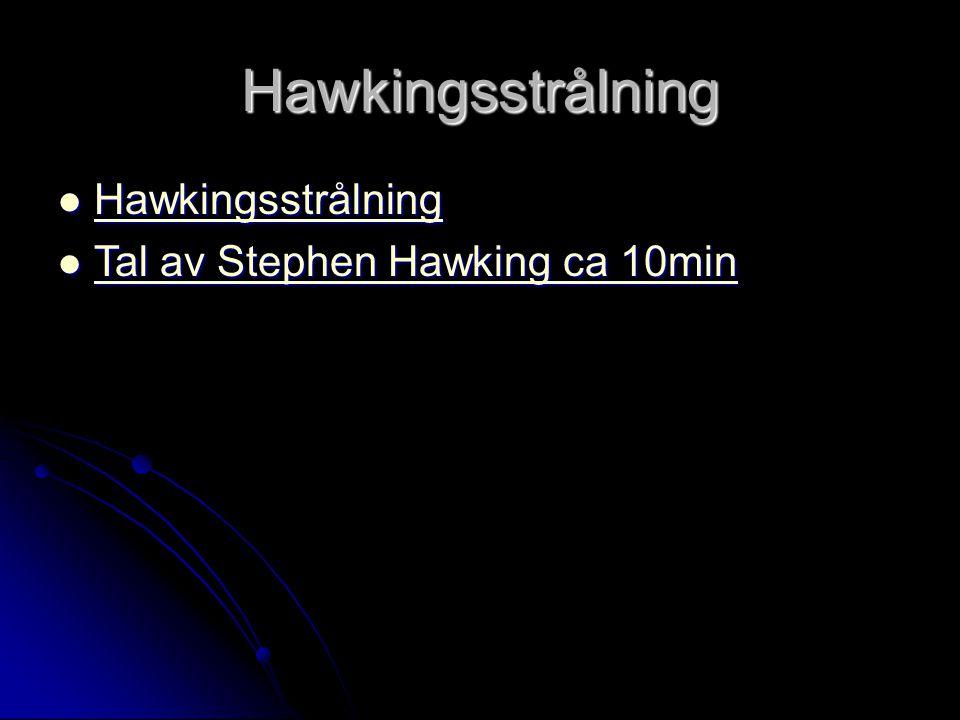 Hawkingsstrålning Hawkingsstrålning Hawkingsstrålning Hawkingsstrålning Tal av Stephen Hawking ca 10min Tal av Stephen Hawking ca 10min Tal av Stephen Hawking ca 10min Tal av Stephen Hawking ca 10min
