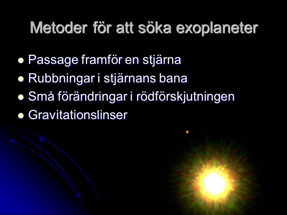 Metoder för att söka exoplaneter Passage framför en stjärna Passage framför en stjärna Rubbningar i stjärnans bana Rubbningar i stjärnans bana Små förändringar i rödförskjutningen Små förändringar i rödförskjutningen Gravitationslinser Gravitationslinser