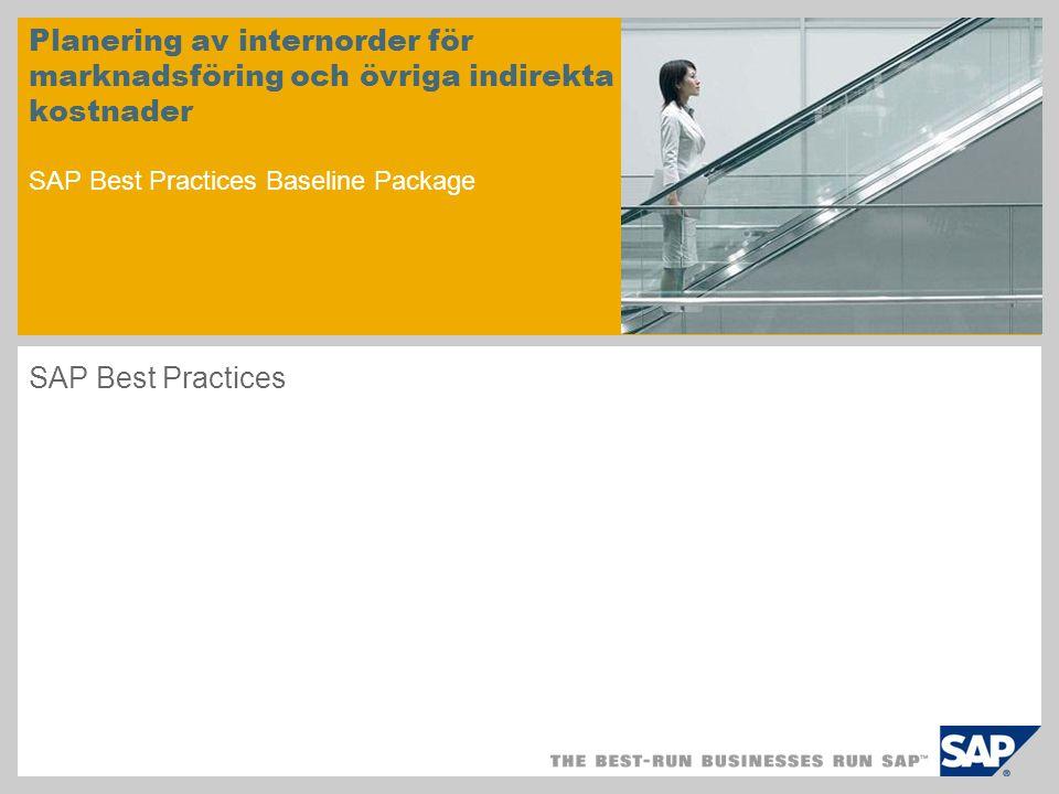 Planering av internorder för marknadsföring och övriga indirekta kostnader SAP Best Practices Baseline Package SAP Best Practices