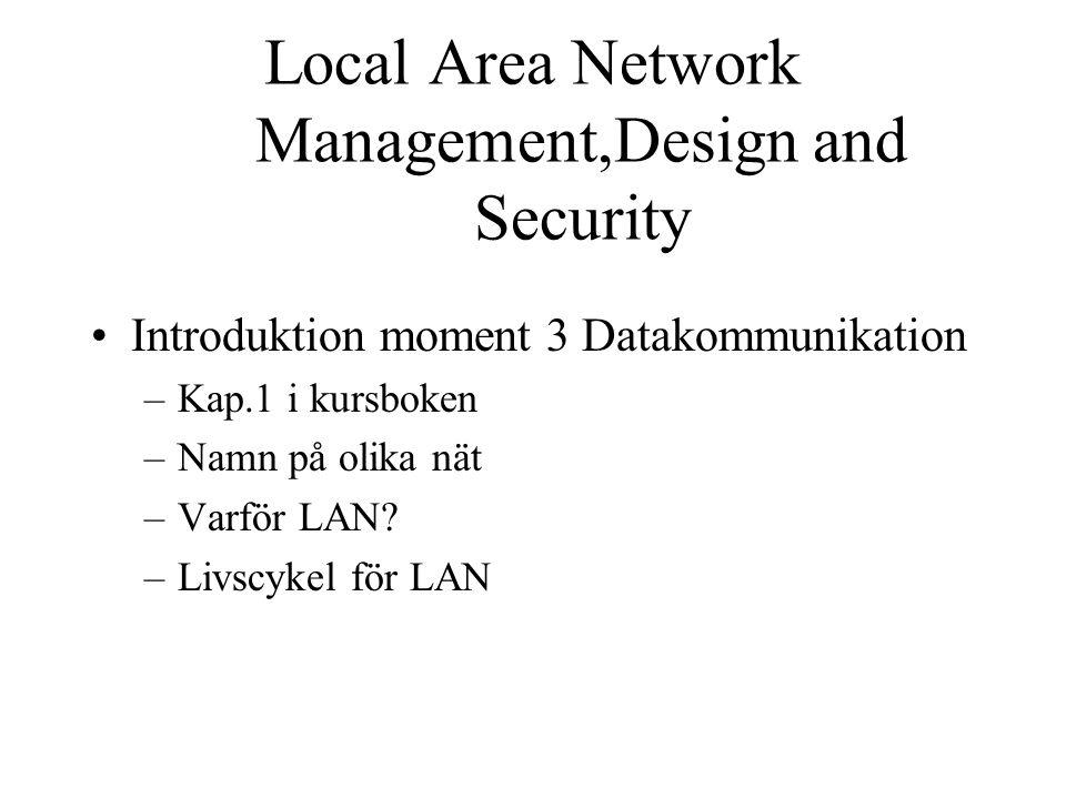 Introduktion moment 3 Datakommunikation –Kap.1 i kursboken –Namn på olika nät –Varför LAN.