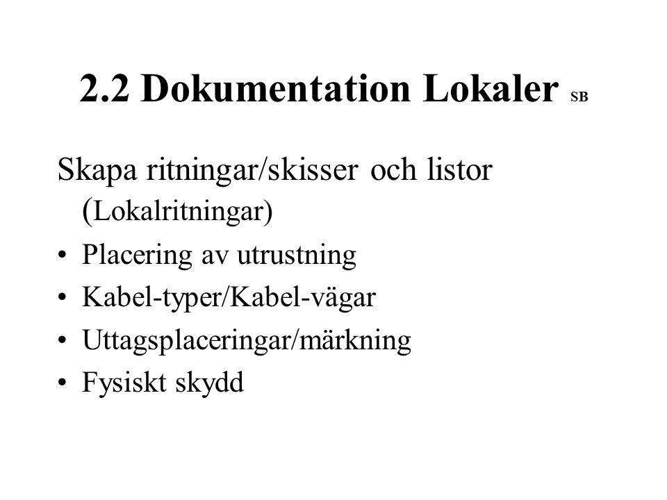2.2 Dokumentation Lokaler SB Skapa ritningar/skisser och listor ( Lokalritningar) Placering av utrustning Kabel-typer/Kabel-vägar Uttagsplaceringar/märkning Fysiskt skydd