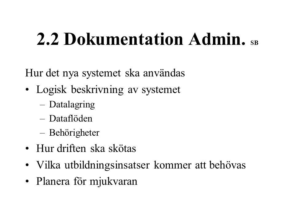 2.2 Dokumentation Admin.