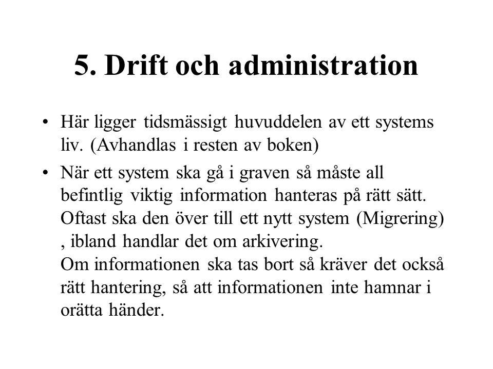 5. Drift och administration Här ligger tidsmässigt huvuddelen av ett systems liv.