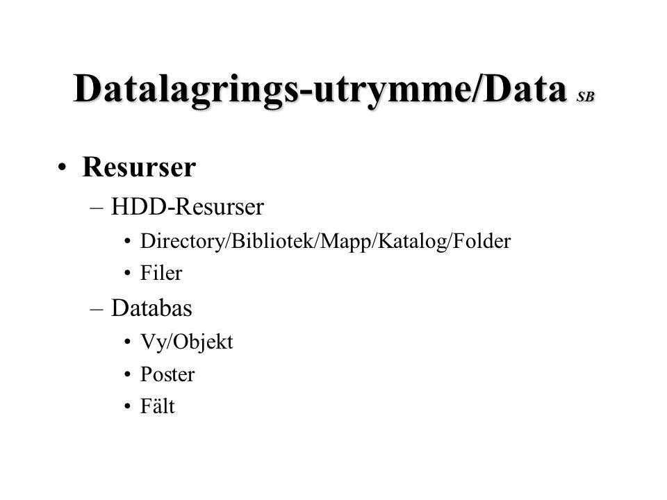 Datalagrings-utrymme/Data SB Resurser –HDD-Resurser Directory/Bibliotek/Mapp/Katalog/Folder Filer –Databas Vy/Objekt Poster Fält