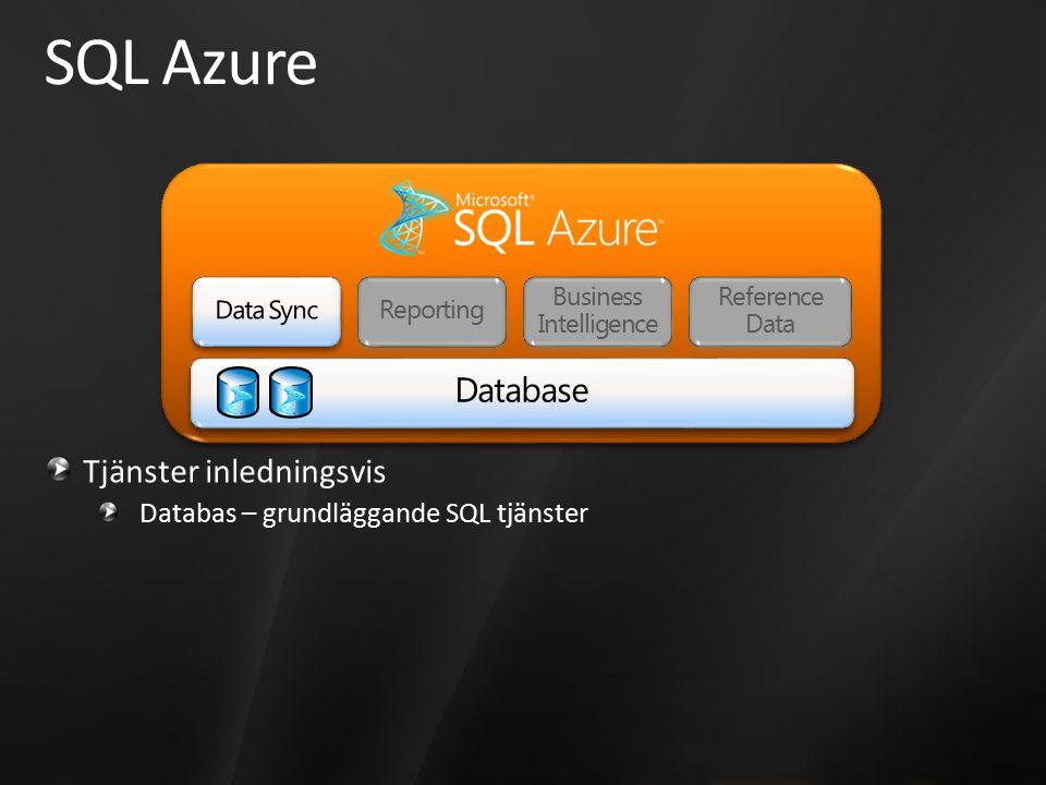 SQL Azure Tjänster inledningsvis Databas – grundläggande SQL tjänster Reference Data Business Intelligence Reporting