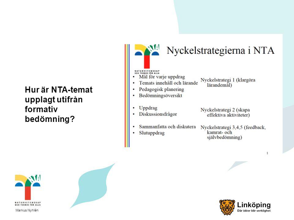 Hur är NTA-temat upplagt utifrån formativ bedömning? Markus Nyhlén
