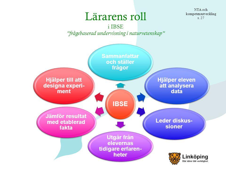 Lärarens roll i IBSE frågebaserad undervisning i naturvetenskap NTA och kompetensutveckling s.