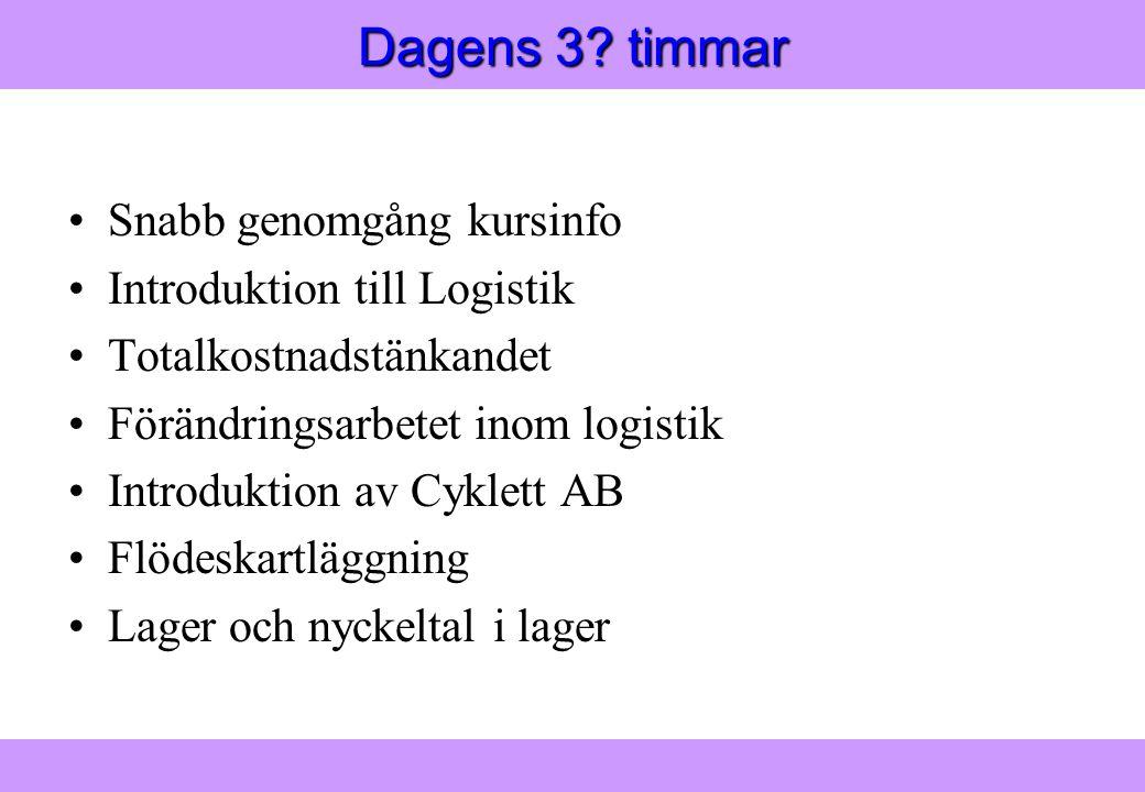 Modern Logistik Aronsson, Ekdahl, Oskarsson, Modern Logistik Aronsson, Ekdahl, Oskarsson, © Liber 2003 Dagens 3.
