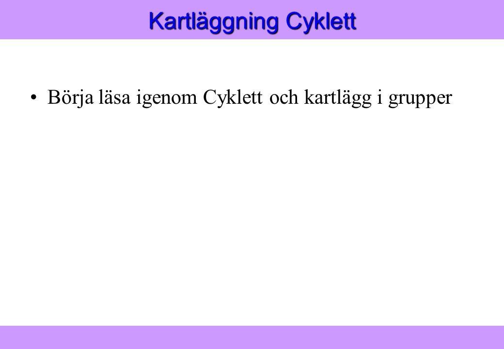 Modern Logistik Aronsson, Ekdahl, Oskarsson, Modern Logistik Aronsson, Ekdahl, Oskarsson, © Liber 2003 Kartläggning Cyklett Börja läsa igenom Cyklett och kartlägg i grupper
