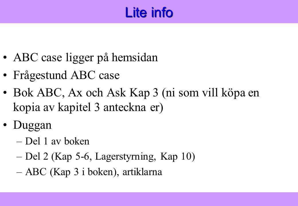 Modern Logistik Aronsson, Ekdahl, Oskarsson, Modern Logistik Aronsson, Ekdahl, Oskarsson, © Liber 2003 Lite info ABC case ligger på hemsidan Frågestund ABC case Bok ABC, Ax och Ask Kap 3 (ni som vill köpa en kopia av kapitel 3 anteckna er) Duggan –Del 1 av boken –Del 2 (Kap 5-6, Lagerstyrning, Kap 10) –ABC (Kap 3 i boken), artiklarna