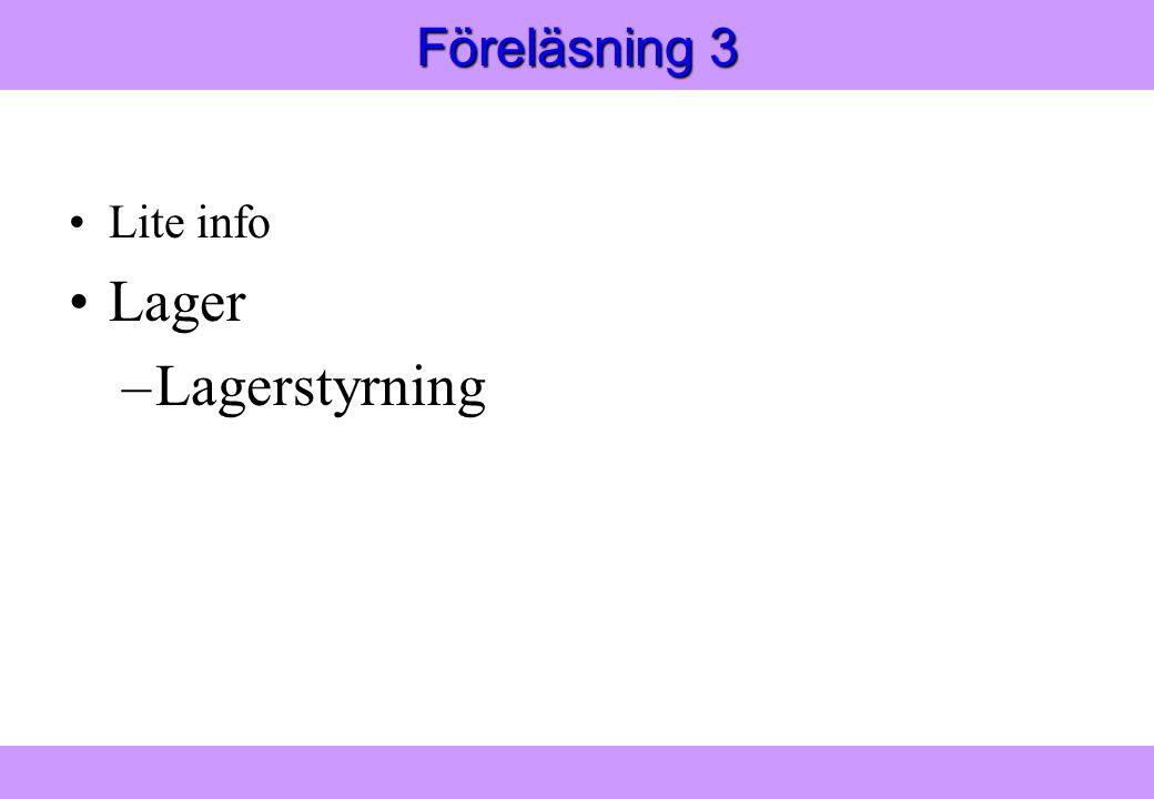 Modern Logistik Aronsson, Ekdahl, Oskarsson, Modern Logistik Aronsson, Ekdahl, Oskarsson, © Liber 2003 Föreläsning 3 Lite info Lager –Lagerstyrning