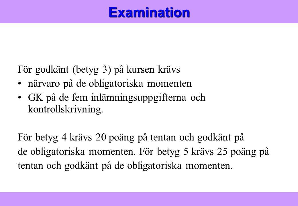 Modern Logistik Aronsson, Ekdahl, Oskarsson, Modern Logistik Aronsson, Ekdahl, Oskarsson, © Liber 2003Examination För godkänt (betyg 3) på kursen krävs närvaro på de obligatoriska momenten GK på de fem inlämningsuppgifterna och kontrollskrivning.