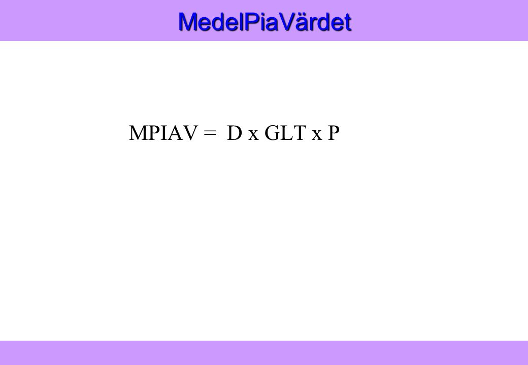 Modern Logistik Aronsson, Ekdahl, Oskarsson, Modern Logistik Aronsson, Ekdahl, Oskarsson, © Liber 2003MedelPiaVärdet MPIAV = D x GLT x P