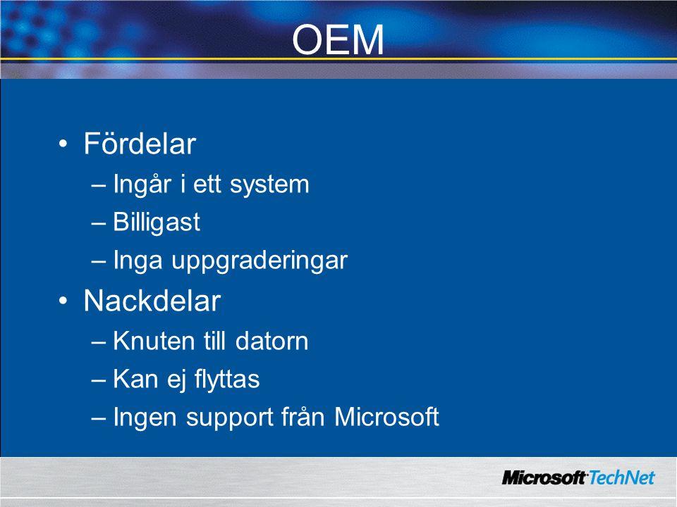 OEM Fördelar –Ingår i ett system –Billigast –Inga uppgraderingar Nackdelar –Knuten till datorn –Kan ej flyttas –Ingen support från Microsoft