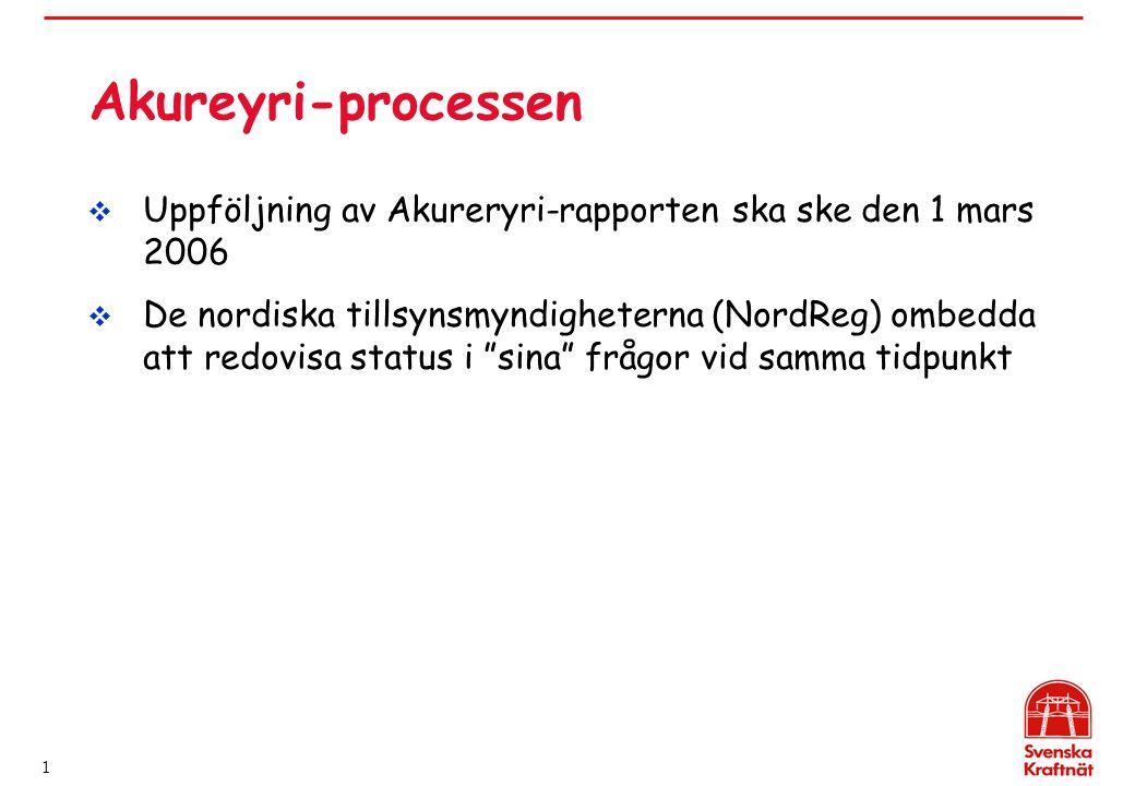 1 Akureyri-processen  Uppföljning av Akureryri-rapporten ska ske den 1 mars 2006  De nordiska tillsynsmyndigheterna (NordReg) ombedda att redovisa status i sina frågor vid samma tidpunkt