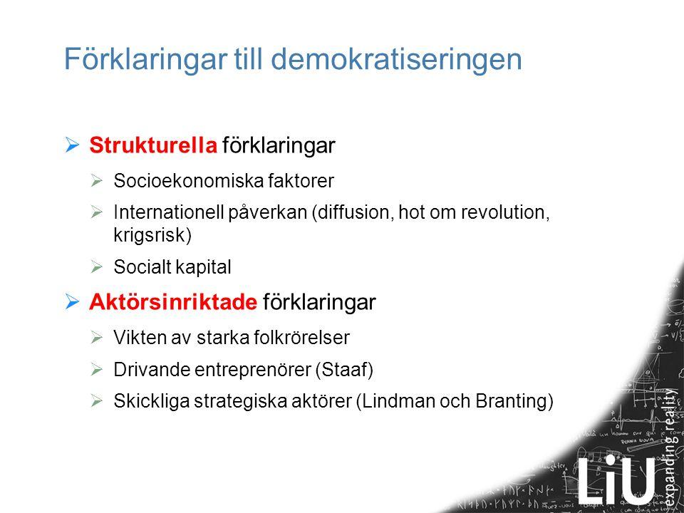 Förklaringar till demokratiseringen  Strukturella förklaringar  Socioekonomiska faktorer  Internationell påverkan (diffusion, hot om revolution, kr