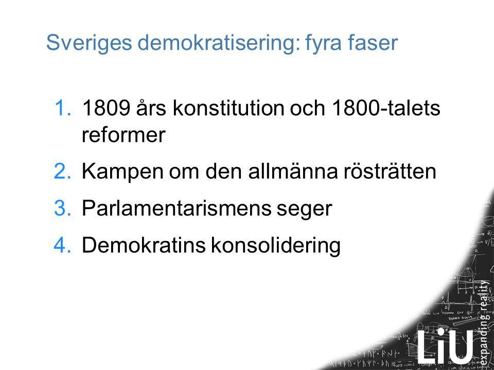 Sveriges demokratisering: fyra faser 1.1809 års konstitution och 1800-talets reformer 2.Kampen om den allmänna rösträtten 3.Parlamentarismens seger 4.