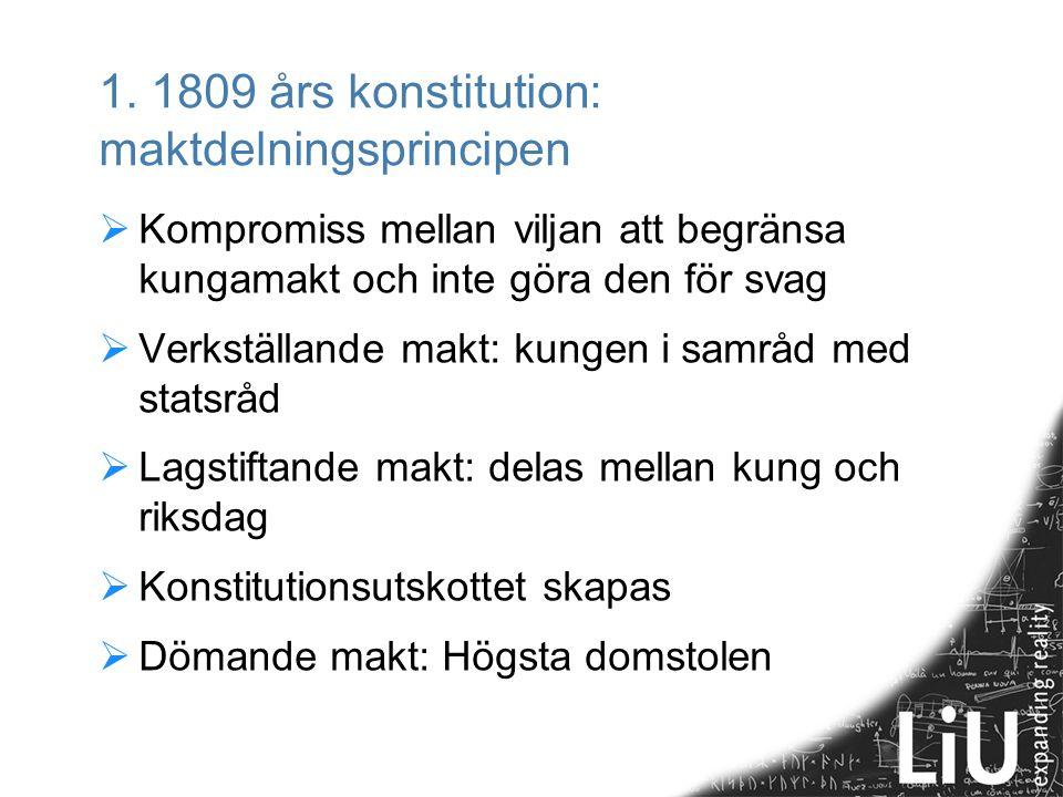 1. 1809 års konstitution: maktdelningsprincipen  Kompromiss mellan viljan att begränsa kungamakt och inte göra den för svag  Verkställande makt: kun
