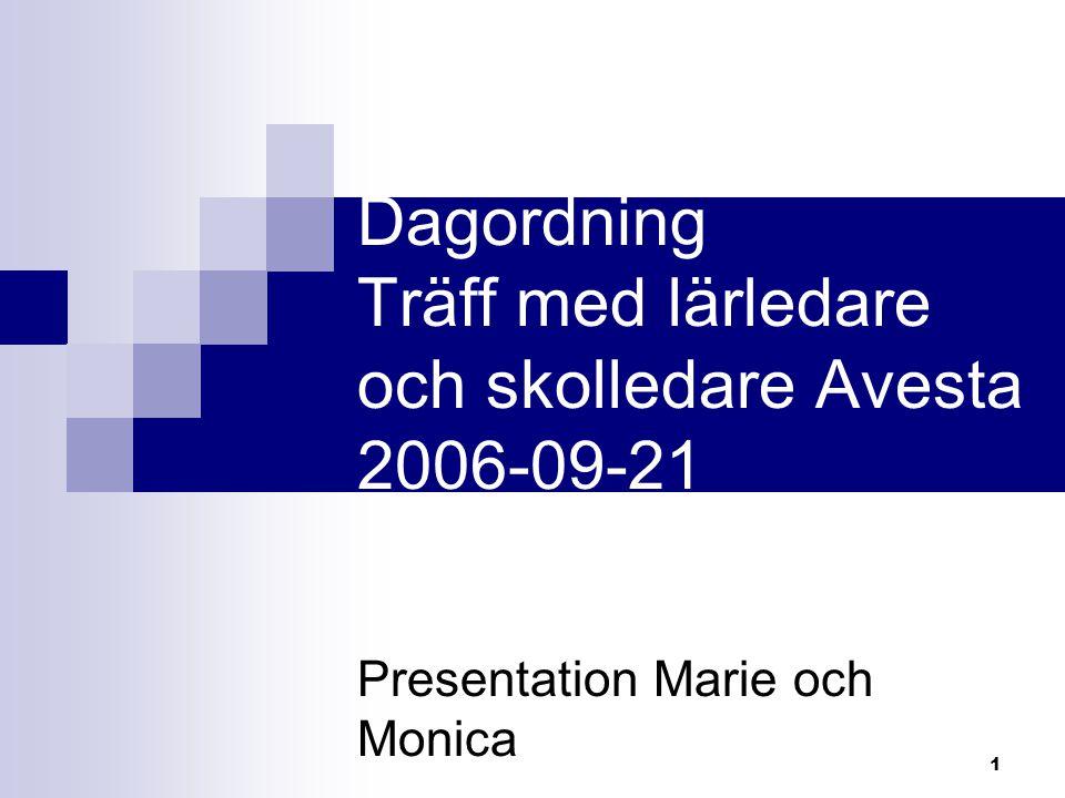 1 Dagordning Träff med lärledare och skolledare Avesta 2006-09-21 Presentation Marie och Monica