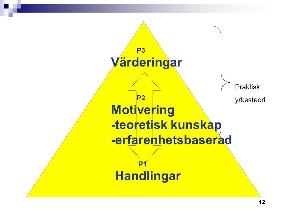 12 P3 Värderingar P2 Motivering -teoretisk kunskap -erfarenhetsbaserad P1 Handlingar Praktisk yrkesteori