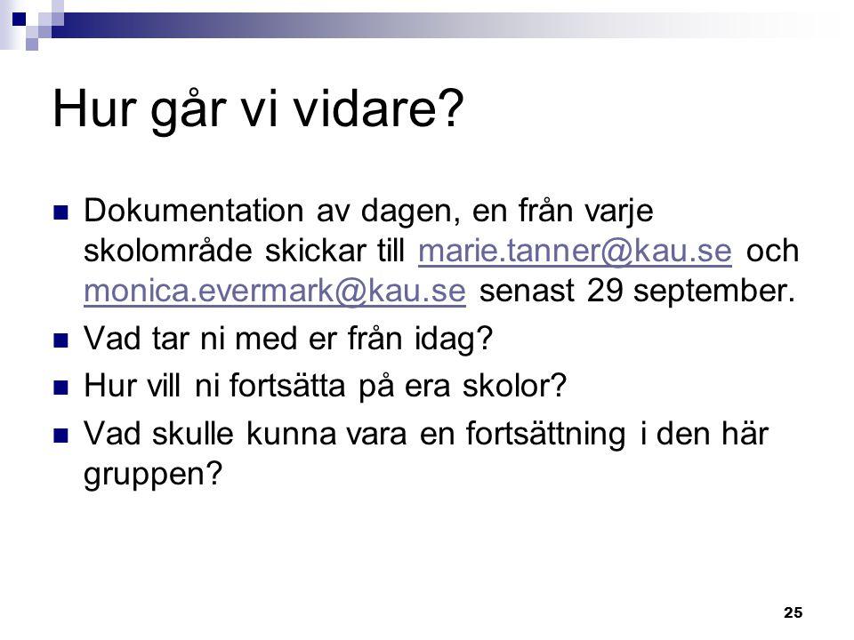 25 Hur går vi vidare? Dokumentation av dagen, en från varje skolområde skickar till marie.tanner@kau.se och monica.evermark@kau.se senast 29 september