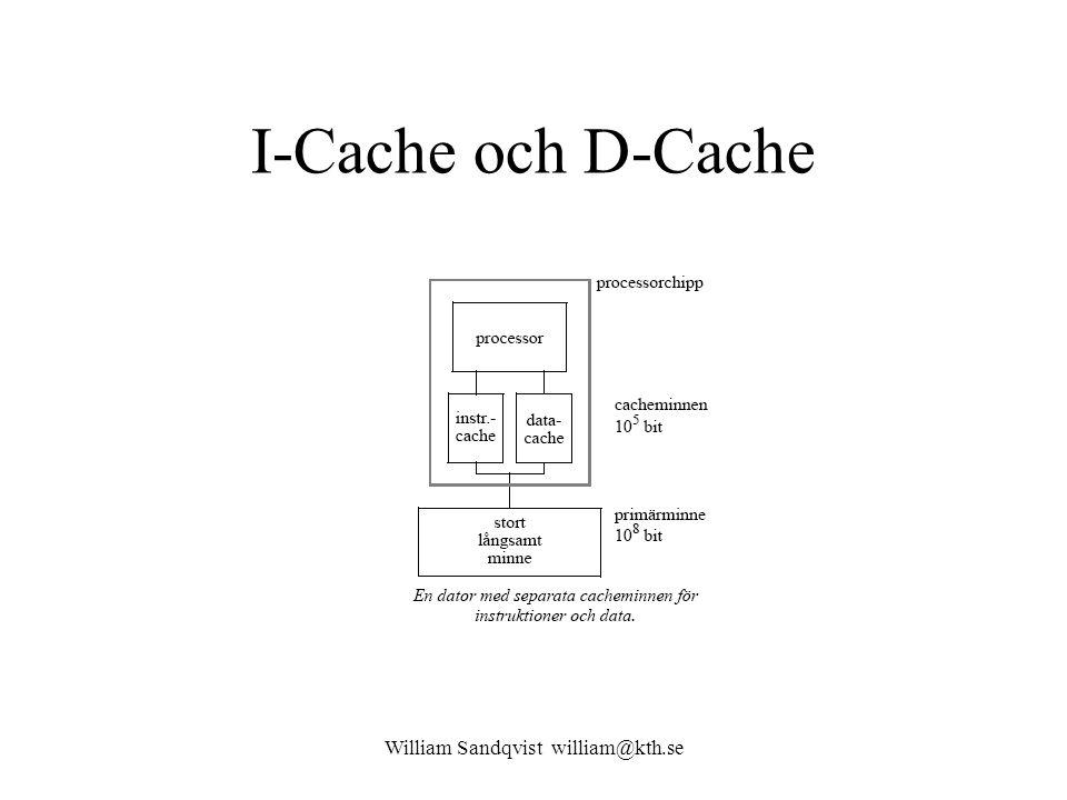 William Sandqvist william@kth.se I-Cache och D-Cache