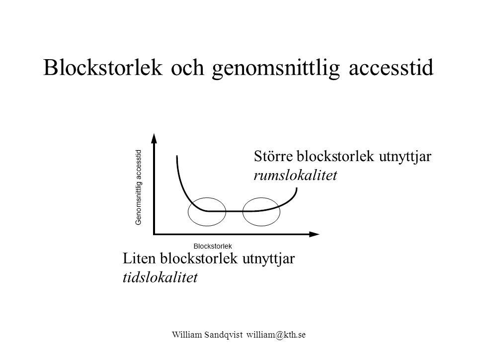 William Sandqvist william@kth.se Blockstorlek och genomsnittlig accesstid Liten blockstorlek utnyttjar tidslokalitet Större blockstorlek utnyttjar rum