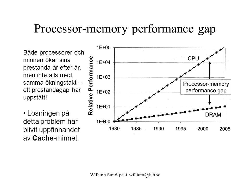 William Sandqvist william@kth.se I-Cache 64 Ord Blocksize 8 ord I-Cache 64 Ord Båda looparna får första varvet MTTTTTTT, därefter TTTTTTTT.