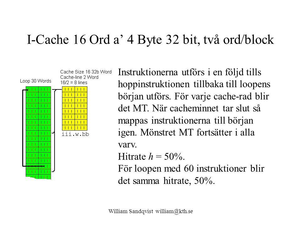 William Sandqvist william@kth.se I-Cache 16 Ord a' 4 Byte 32 bit, två ord/block Instruktionerna utförs i en följd tills hoppinstruktionen tillbaka til