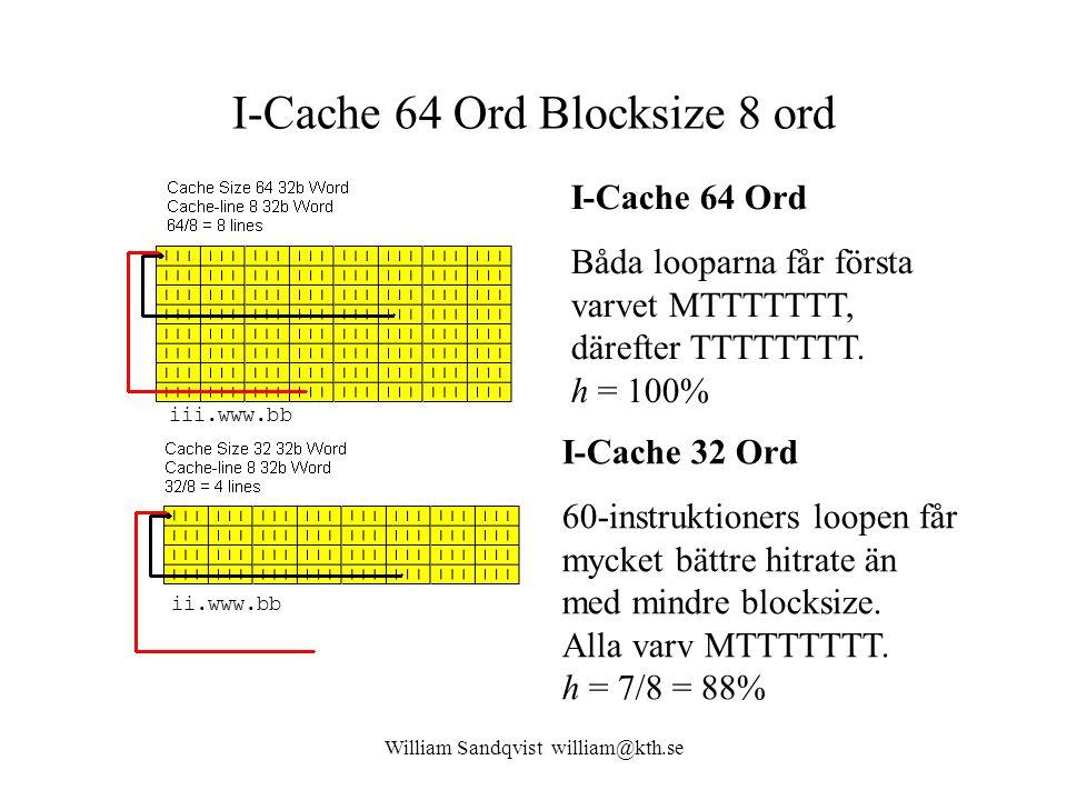 William Sandqvist william@kth.se I-Cache 64 Ord Blocksize 8 ord I-Cache 64 Ord Båda looparna får första varvet MTTTTTTT, därefter TTTTTTTT. h = 100% I