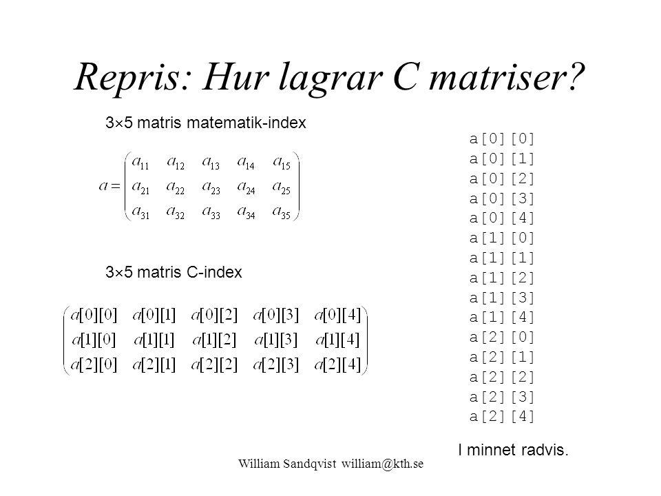 William Sandqvist william@kth.se Repris: Hur lagrar C matriser? a[0][0] a[0][1] a[0][2] a[0][3] a[0][4] a[1][0] a[1][1] a[1][2] a[1][3] a[1][4] a[2][0
