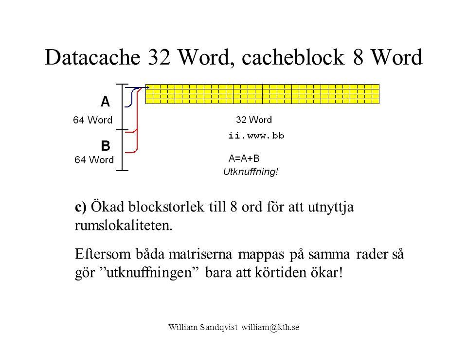 William Sandqvist william@kth.se Datacache 32 Word, cacheblock 8 Word c) Ökad blockstorlek till 8 ord för att utnyttja rumslokaliteten. Eftersom båda